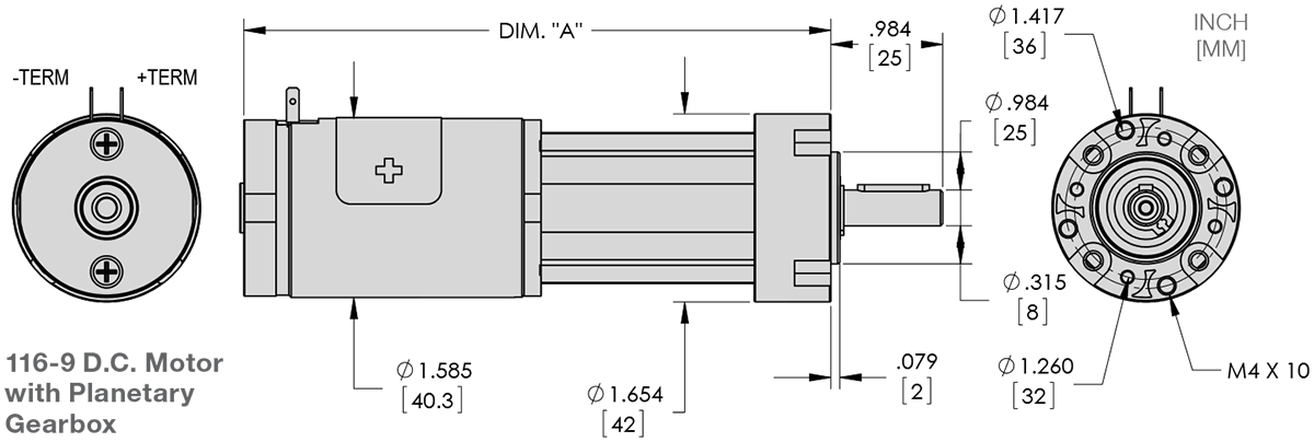 Series 116-9 - 1.6 inch Planetary Gear Motor (Plastic) Technical Drawings