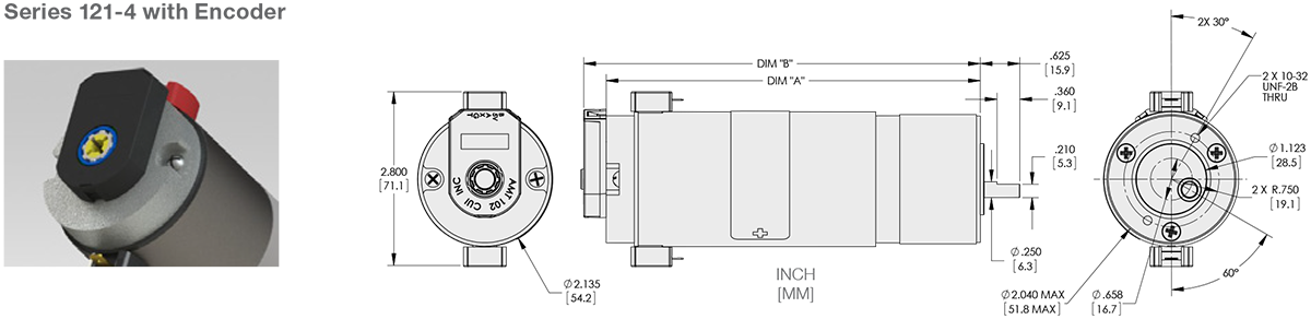 Series 121-4 - 2.1 inch DC Spur Gear Motor Standard Options