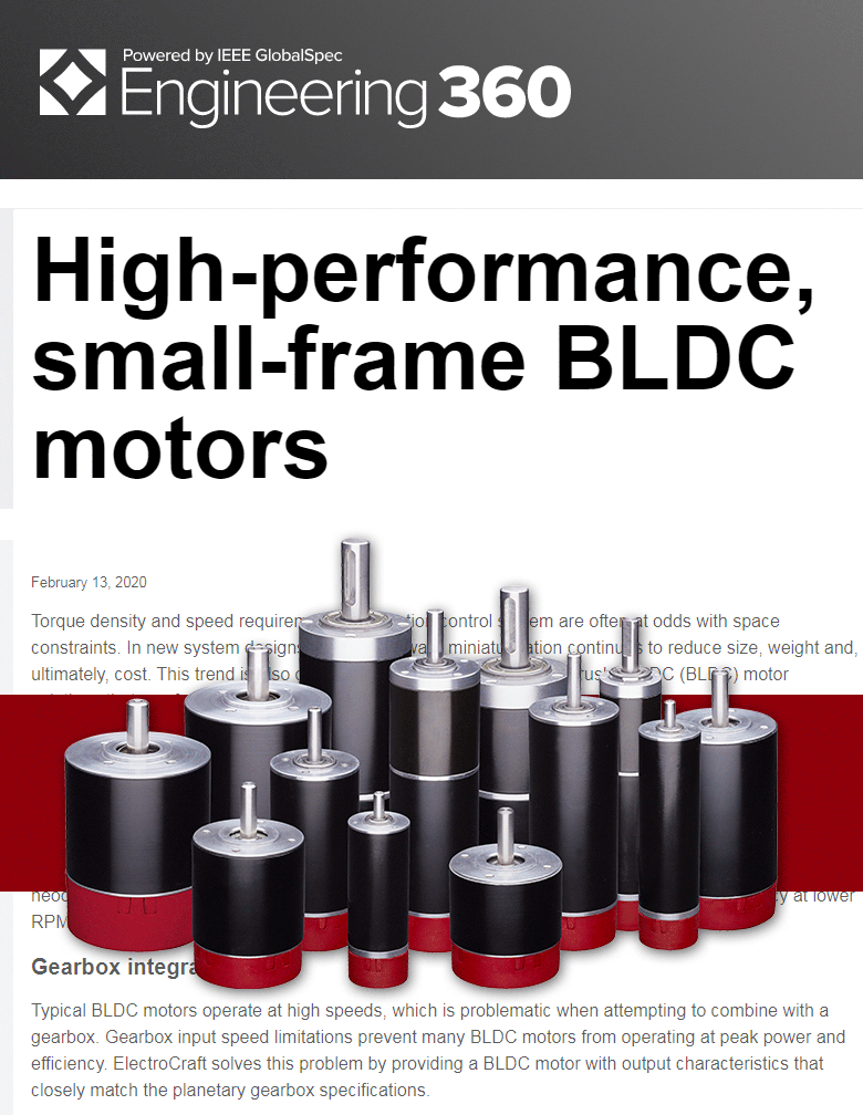 High-Performance, Small-Frame BLDC Motors